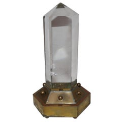 Rock Crystal Point ,% 98 Clear, Brass Base No Chips, Very Rare This Clear