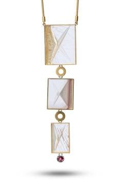 Rock Crystal Quartz Tourmaline Gold Platinum Necklace by Atelier Munsteiner