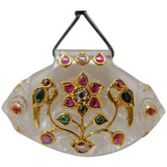 Rock Crystal Ruby Diamond and 18 Karat Yellow Gold Indian Pendant Necklace