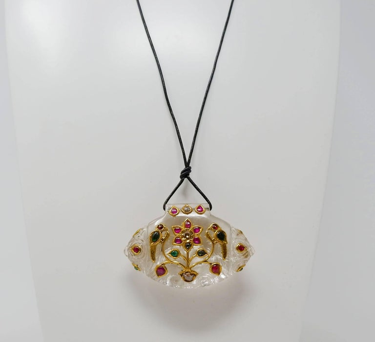 Contemporary Rock Crystal Ruby Diamond and Gold Indian Pendant Necklace For Sale