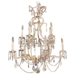 Rock Crystal Silver Gilt & Iron Chandelier 10-Light with Multiple Crystals