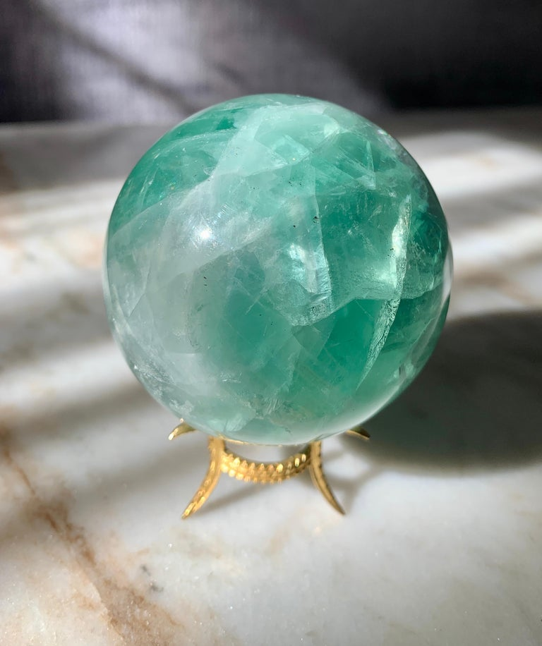 Rock Crystal Sphere on Gold Stand In Good Condition For Sale In Los Angeles, CA