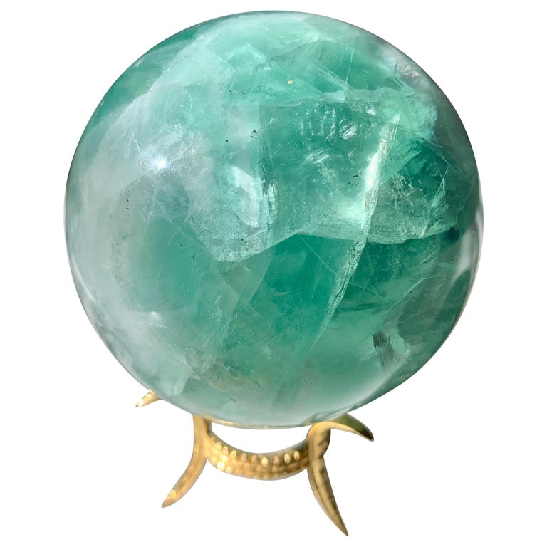 Rock Crystal Sphere on Gold Stand For Sale