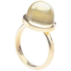 Rock Crystal Sphere Stepped Cabochon 18 Karat Yellow Gold Artisan Cocktail Ring