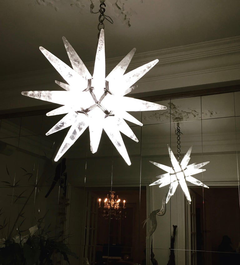 Rock Crystal Star Chandelier by Alexandre Vossion For Sale 4