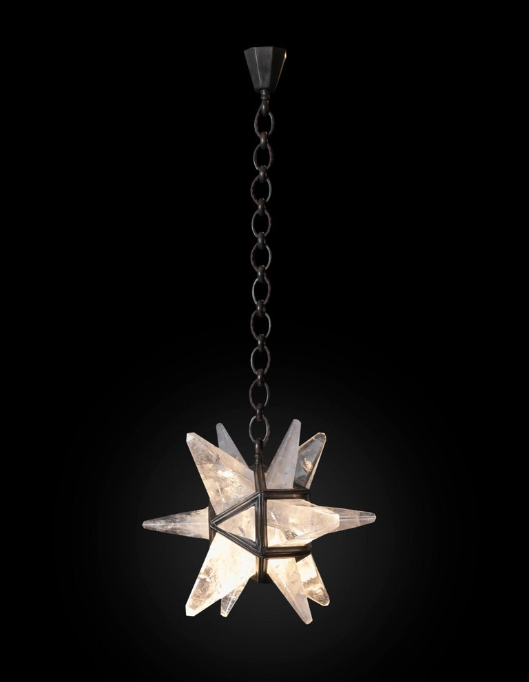 Art Deco Rock Crystal Star II Lighting By Alexandre Vossion For Sale