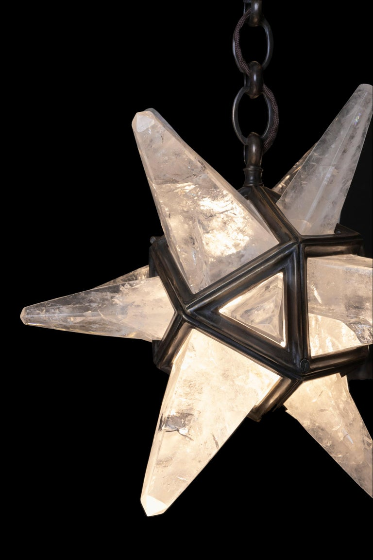 French Rock Crystal Star II Lighting By Alexandre Vossion For Sale
