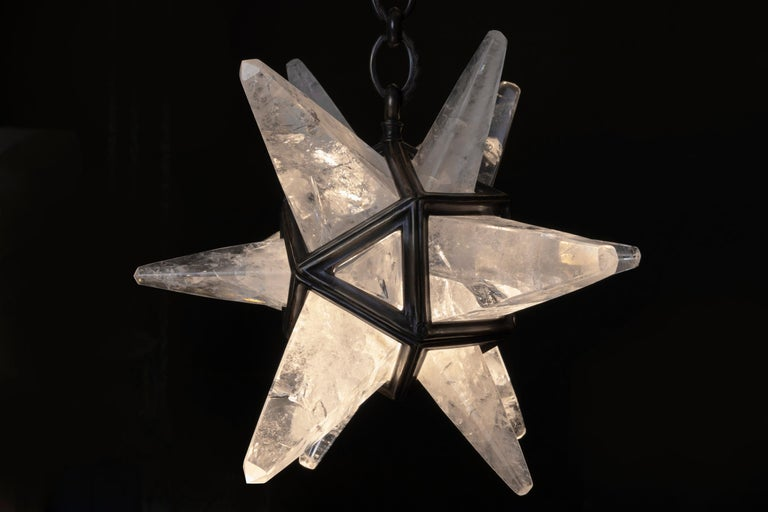 Bronze Rock Crystal Star II Lighting By Alexandre Vossion For Sale