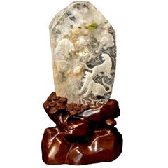 Rock Crystal Tiger Kingdom Sculpture, Hand-Carved