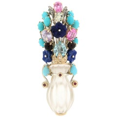 Rock Crystal Vase 14 Karat Yellow Gold Diamonds Brooch Pendant