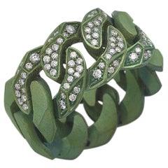 Rock Diamonds Ring / Green Titanium