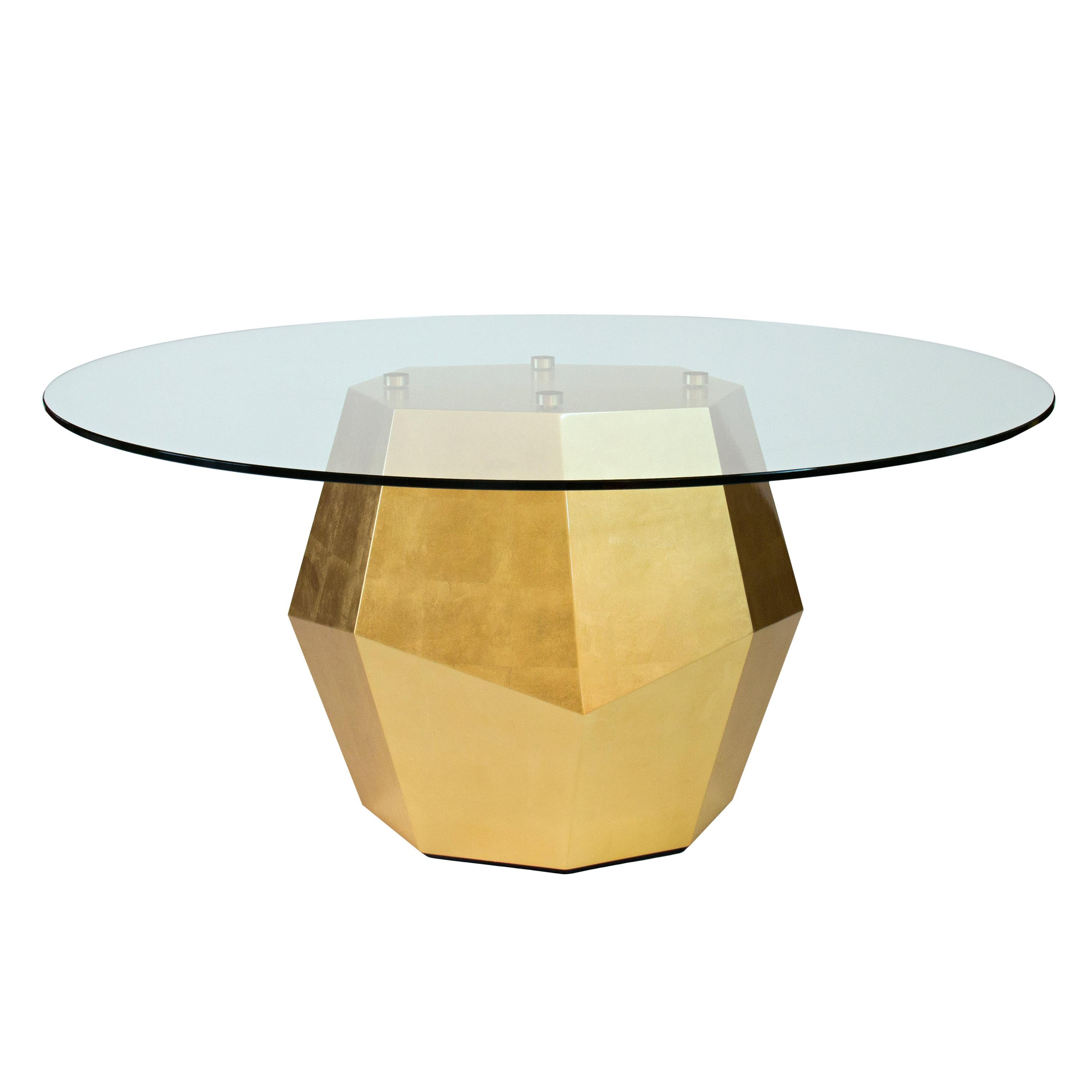 Rock Dining Table, Glass and Gold Leaf, InsidherLand by Joana Santos Barbosa