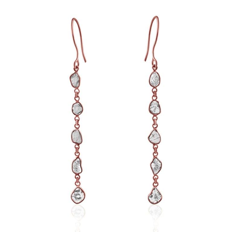 Uncut Rock & Divine Dawn Diamond Drop Earrings in 18 Karat Rose Gold F VS2 1.50 Carat For Sale