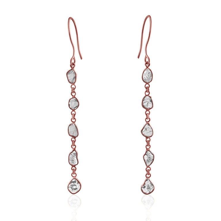 Rock & Divine Dawn Diamond Drop Earrings in 18 Karat Rose Gold F VS2 1.50 Carat In New Condition For Sale In New York, NY