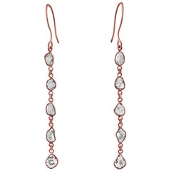 Rock & Divine Dawn Diamond Drop Earrings in 18 Karat Rose Gold F VS2 1.50 Carat