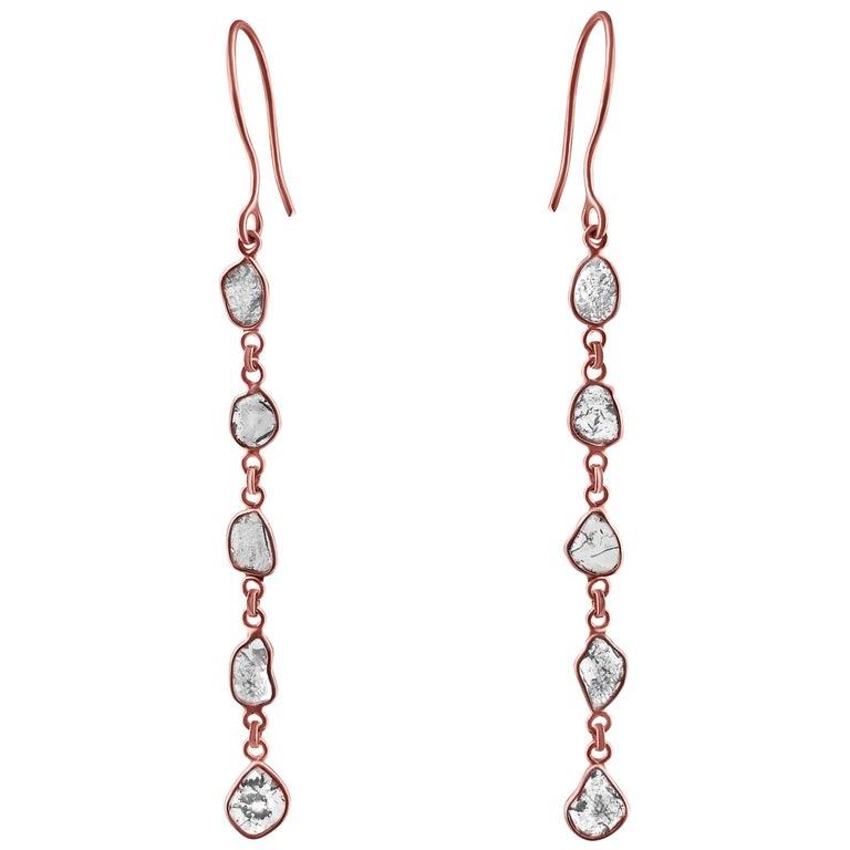 Rock & Divine Dawn Diamond Drop Earrings in 18 Karat Rose Gold F VS2 1.50 Carat For Sale
