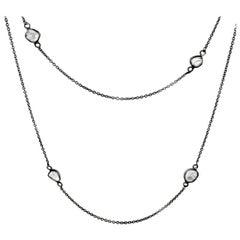 Rock & Divine Full Moon Diamond Necklace in 18 Karat Black Gold F VS2 1.60 Carat