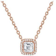 Rock & Divine Perfect Square Diamond Necklace in 18K Rose Gold F VS2 0.72 CTW