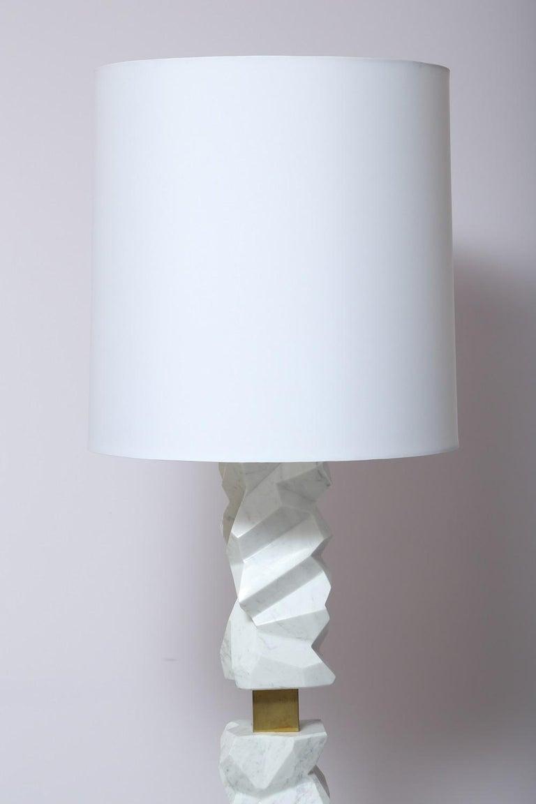 Italian Rock Floor Lamp in White Carrara Marble, Handmade in Italy For Sale