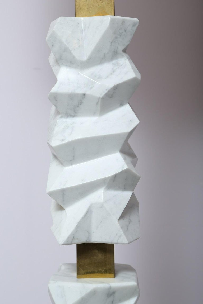 Contemporary Rock Floor Lamp in White Carrara Marble, Handmade in Italy For Sale