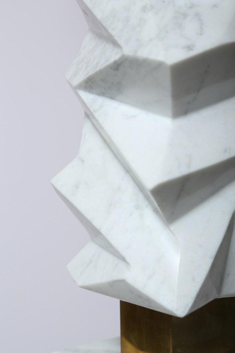 Rock Floor Lamp in White Carrara Marble, Handmade in Italy For Sale 3