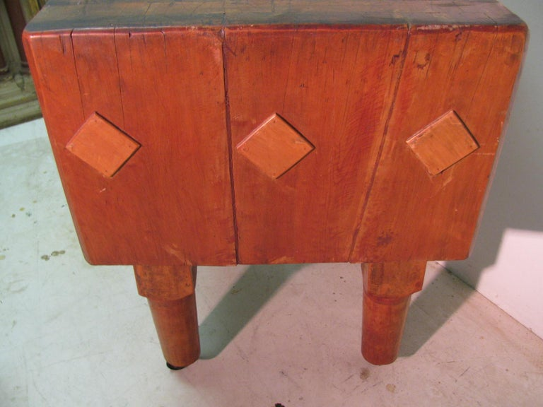 Industrial Rock Hard Maple Butchers Block Table, circa 1930 For Sale