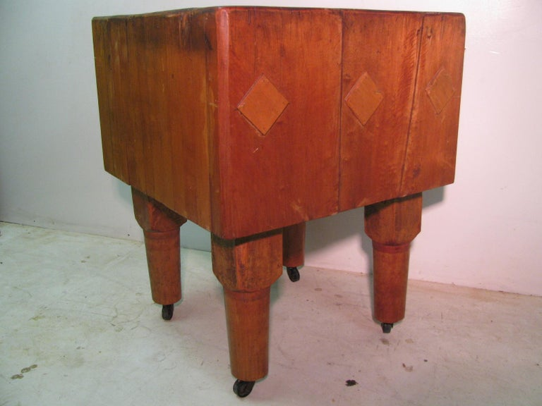 Hand-Crafted Rock Hard Maple Butchers Block Table, circa 1930 For Sale