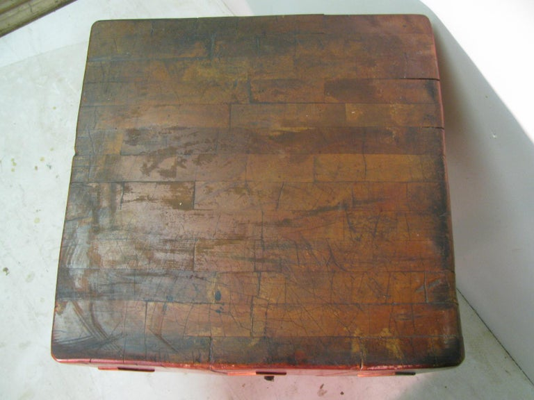 Rock Hard Maple Butchers Block Table, circa 1930 In Good Condition For Sale In Port Jervis, NY