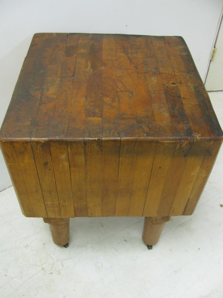 Mid-20th Century Rock Hard Maple Butchers Block Table, circa 1930 For Sale