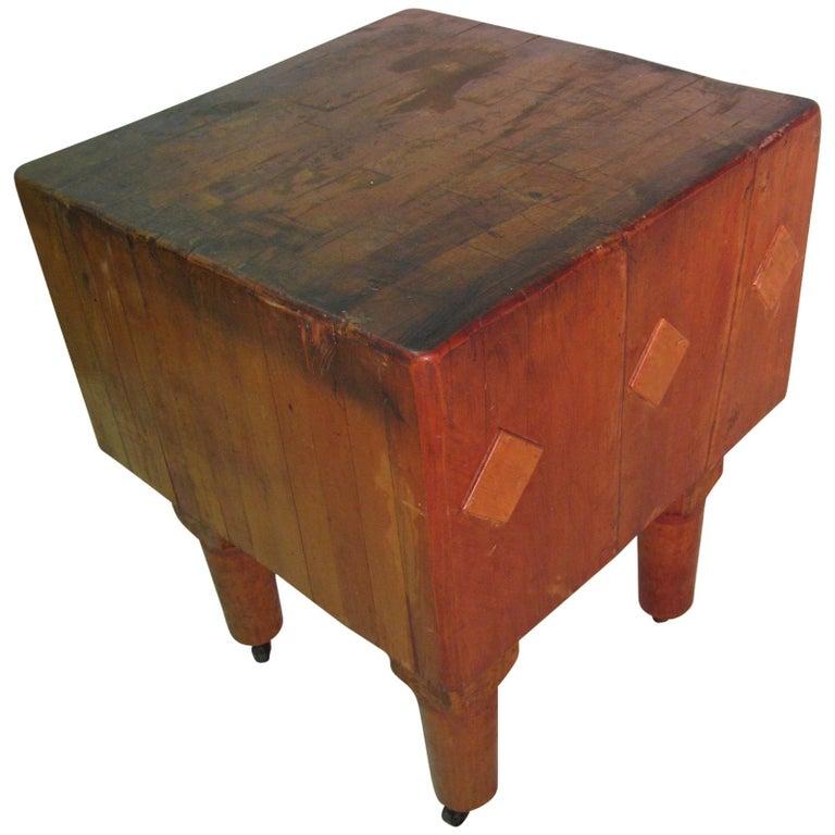 Rock Hard Maple Butchers Block Table, circa 1930 For Sale