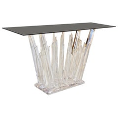 Rock Lucite Console of Modern Abstract Design with Smoked Black Glass Top