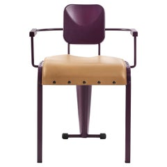 Rock Purple Armchair with Leather Seat by Marc Sadler