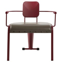 Rock Red Lounge Armchair with Gray Leather Seat by Marc Sadler