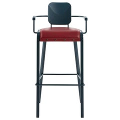 Rock Stool with Leather Seat by Marc Sadler