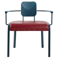 Rock4 Blue Lounge Armchair with Red Leather Seat by Marc Sadler
