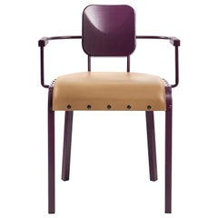 Rock4 Purple Armchair with Leather Seat by Marc Sadler