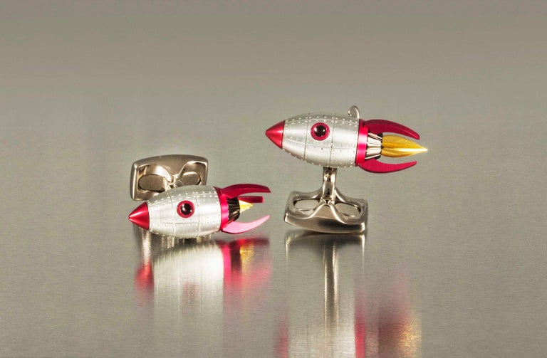 Contemporary Deakin & Francis Red and Yellow Enamel Rocket Cufflinks For Sale