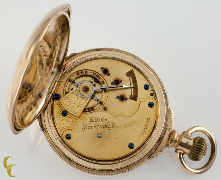 40368272ca85b Rockford Full Hunter 14 Karat Yellow Gold Filled Pocket Watch 15 Jewels Gr:  85