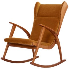 Rocking Antimott Chair by Wilhelm Knoll in Mohair Fabric, Germany, 1950s