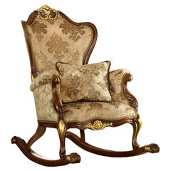 Rocking Armchair in Natural Walnut Wood and Gold Leaf Finishes by Modenese