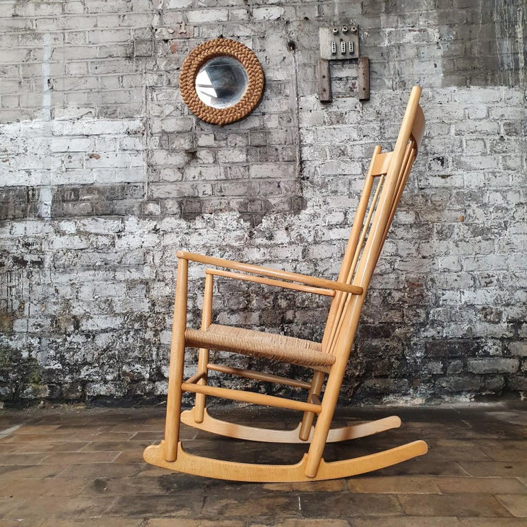 Iconic rocking chair, model J16, designed by Hans J. Wegner in 1944 and manufactured by Fredericia Furniture in the 1960s.