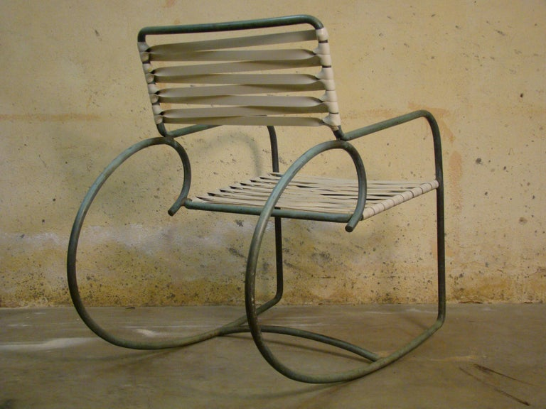 Mid-Century Modern Rocking Chair by Walter Lamb for Brown Jordan in Bronze Tubing For Sale