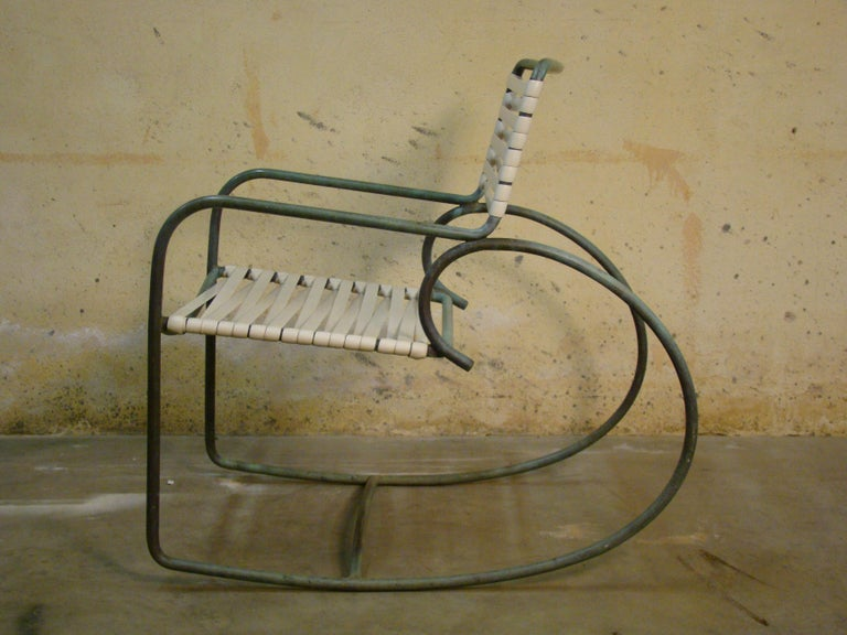 Rocking Chair by Walter Lamb for Brown Jordan in Bronze Tubing In Good Condition For Sale In Denver, CO