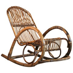Rocking Chair in Bamboo and Rattan Franco Albini Attributed, 1950