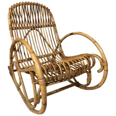 Rocking Chair in Bamboo, Original from 1970s Great Design