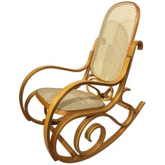 Rocking Chair in Beech and Vienna Straw, Original from 1970