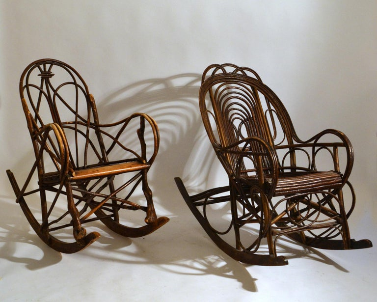 Rocking Chair in Bentwood Willow, Swedish, 1900-1920 5