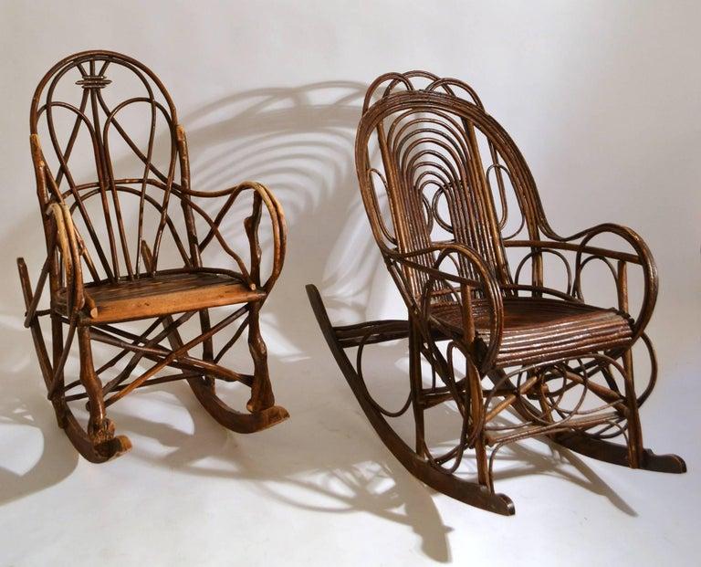 Scandinavian Modern Rocking Chair in Bentwood Willow, Swedish, 1900-1920