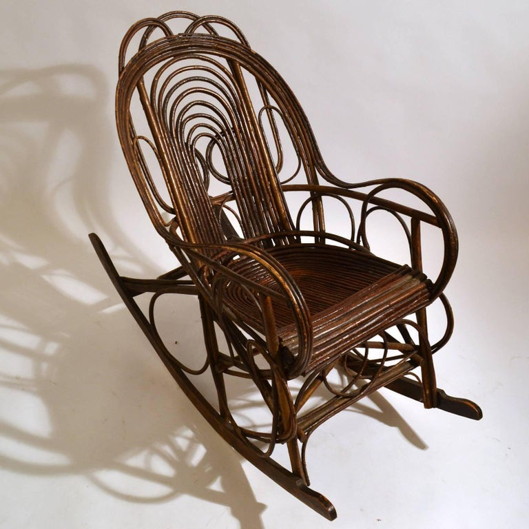 Rocking Chair in Bentwood Willow, Swedish, 1900-1920 In Excellent Condition In London, GB