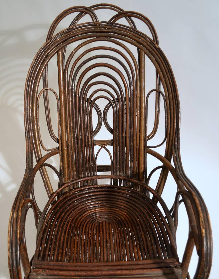 20th Century Rocking Chair in Bentwood Willow, Swedish, 1900-1920
